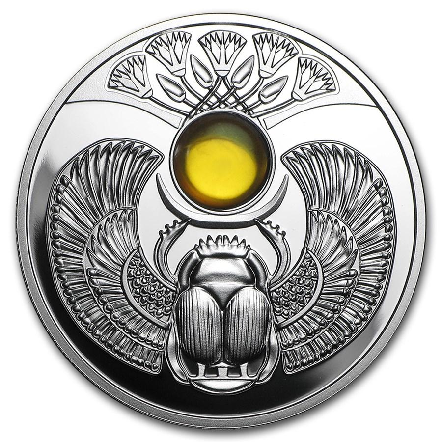 2015 Niue Silver Natural Amber Scarab Beetle