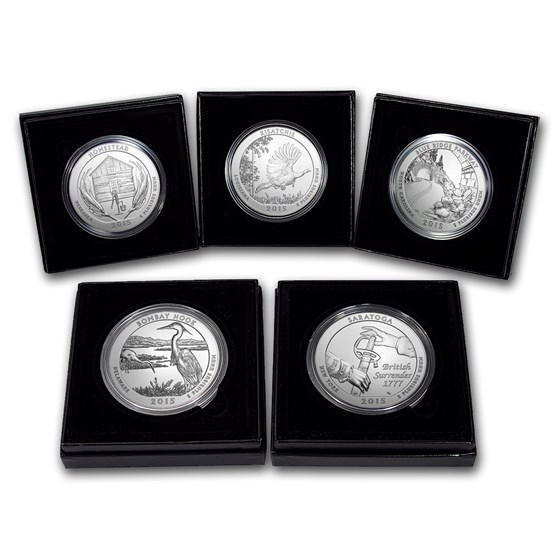 2015-P 5-Coin 5 oz Silver Burnished ATB Set (w/Box & COA)