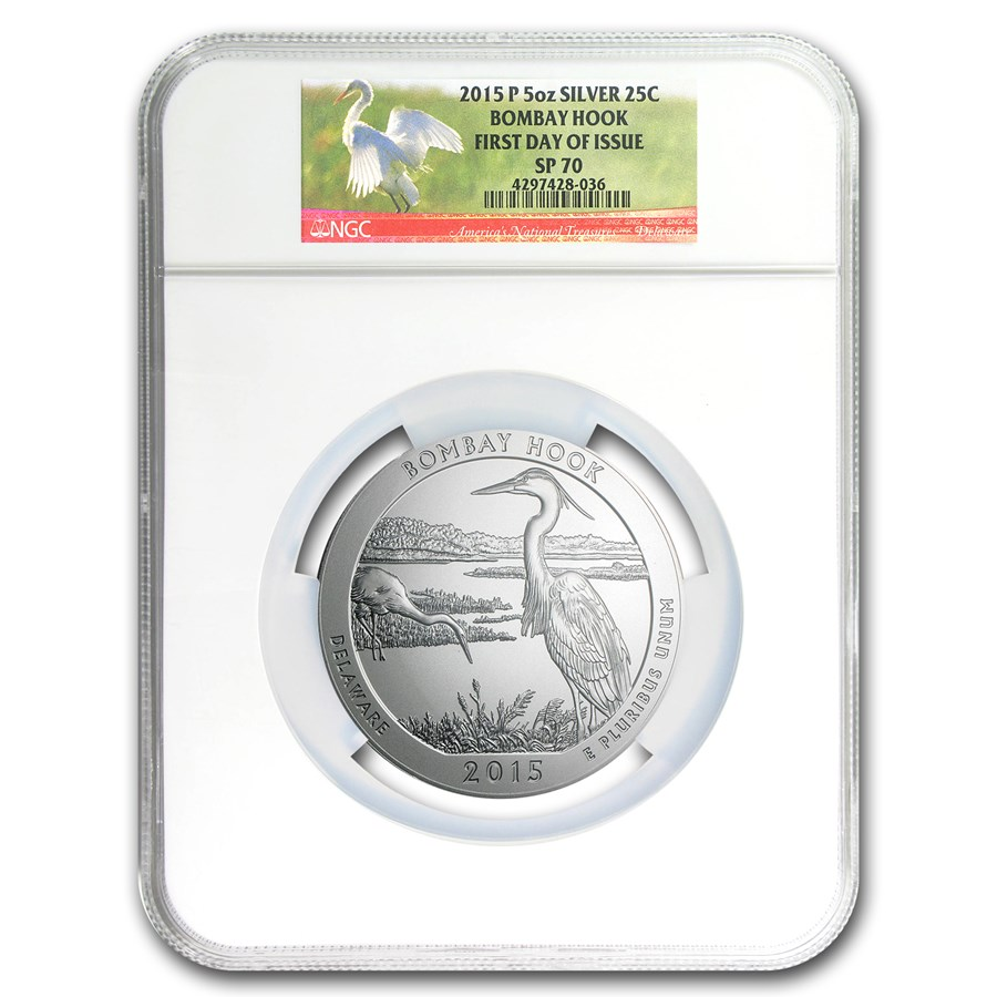 2015-P 5 oz Silver ATB Bombay Hook SP-70 NGC (First Day of Issue)