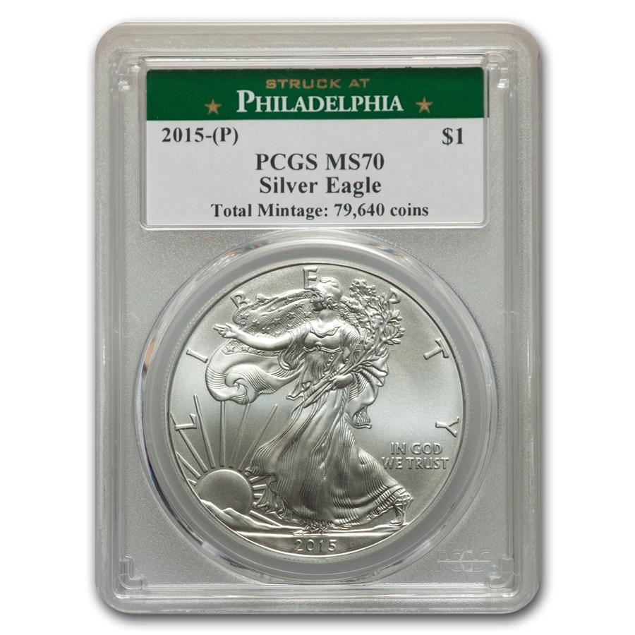 2015 (P) American Silver Eagle MS-70 PCGS (Philadelphia Mint)