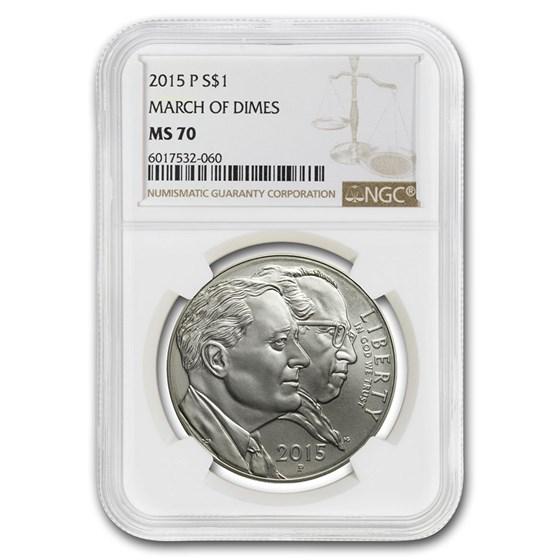 2015-P U.S. March of Dimes $1 Silver Commem MS-70 NGC