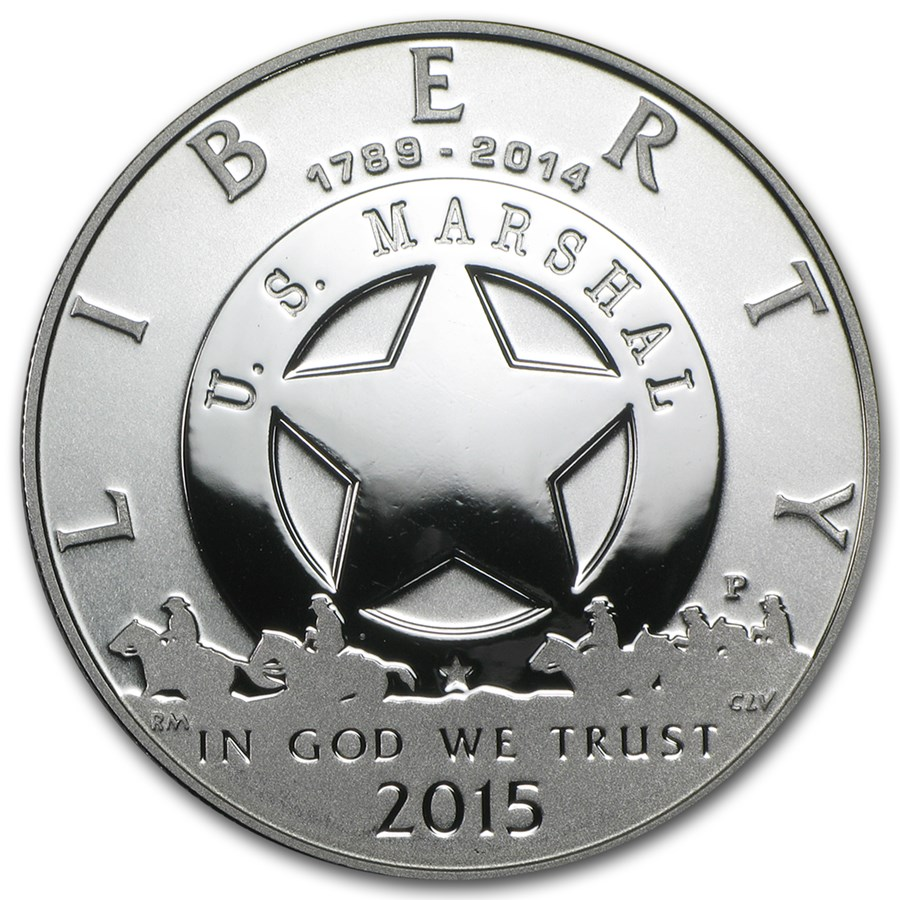 2015-P U.S. Marshals Service $1 Silver Commem Proof (w/Box & COA)