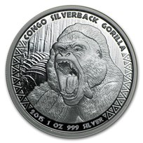 2015 Republic of Congo 1 oz Silver Silverback Gorilla (Prooflike)