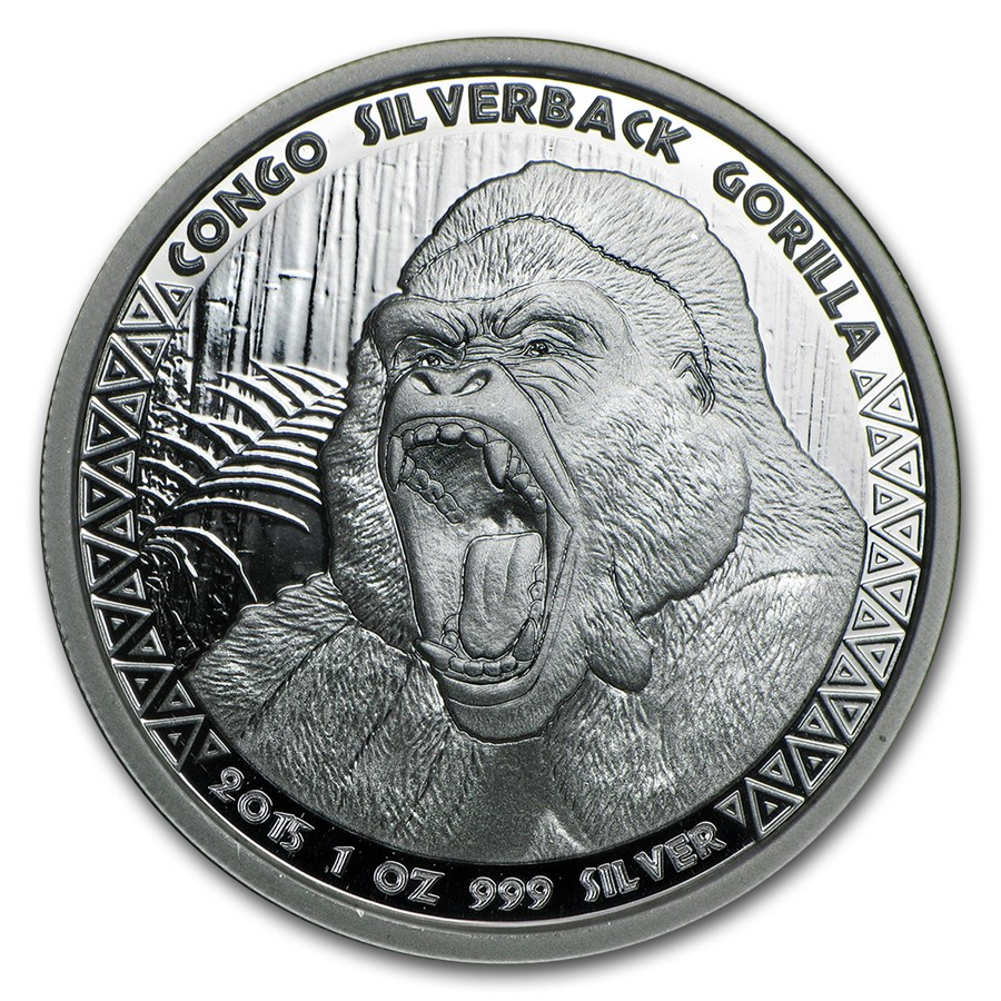 2015 Republic of Congo 1 oz Silver Silverback Gorilla (Prooflike)
