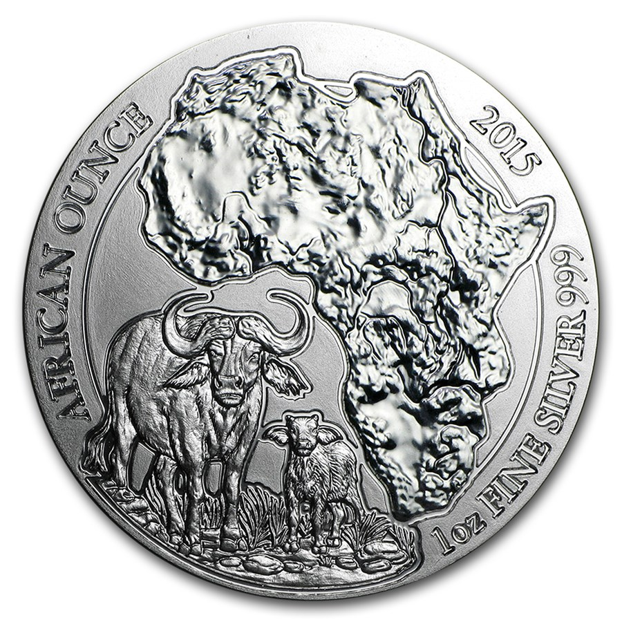 2015 Rwanda 1 oz Silver African Buffalo BU (Not Sealed)