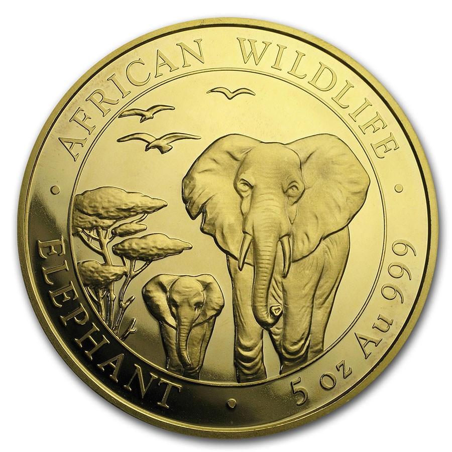 2015 Somalia 5 oz Gold African Elephant - COA #1