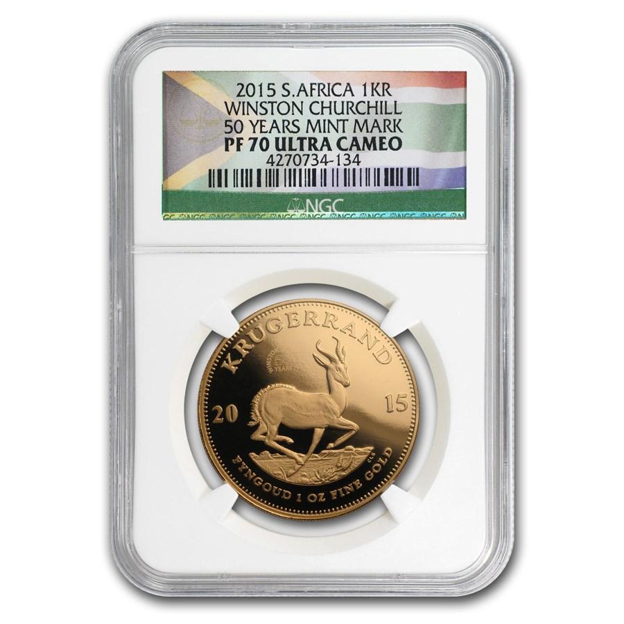 2015 South Africa 1 oz Gold Krugerrand W. Churchill PF-70 NGC