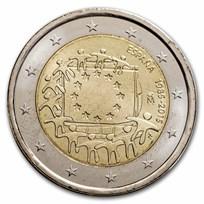 2015 Spain 2 Euro EU Flag BU
