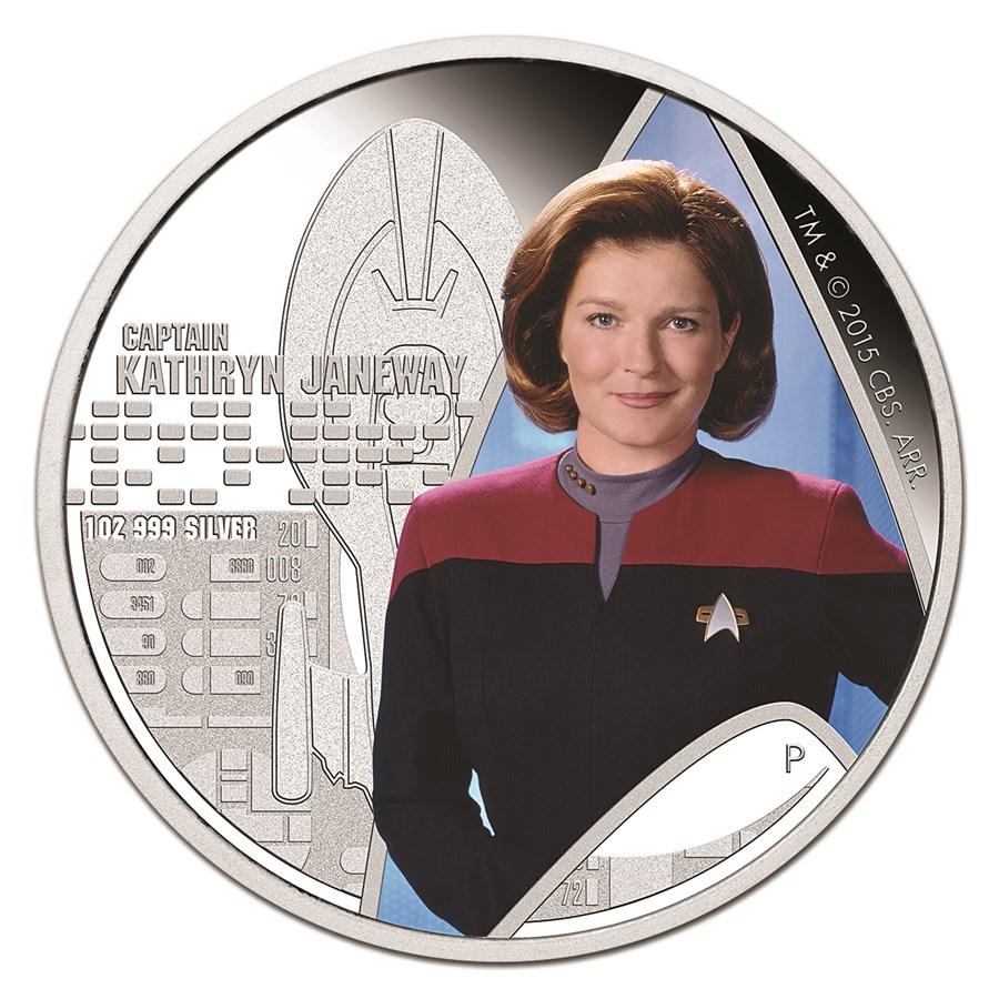 2015 Tuvalu 1 oz Silver Star Trek Colored Capt. Janeway Proof