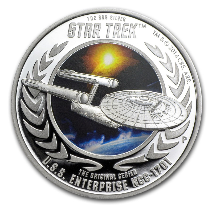 2015 Tuvalu 1 oz Silver Star Trek Colored Proof (Enterprise #1)