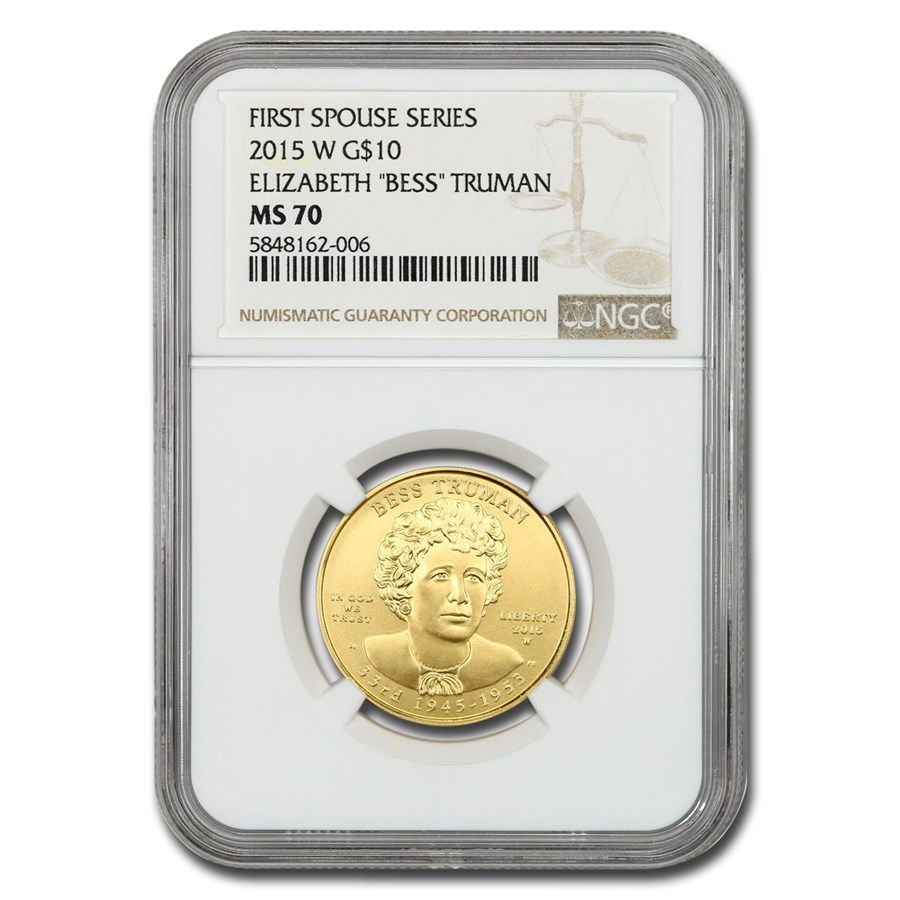 2015-W 1/2 oz Gold Bess Truman MS-70 NGC