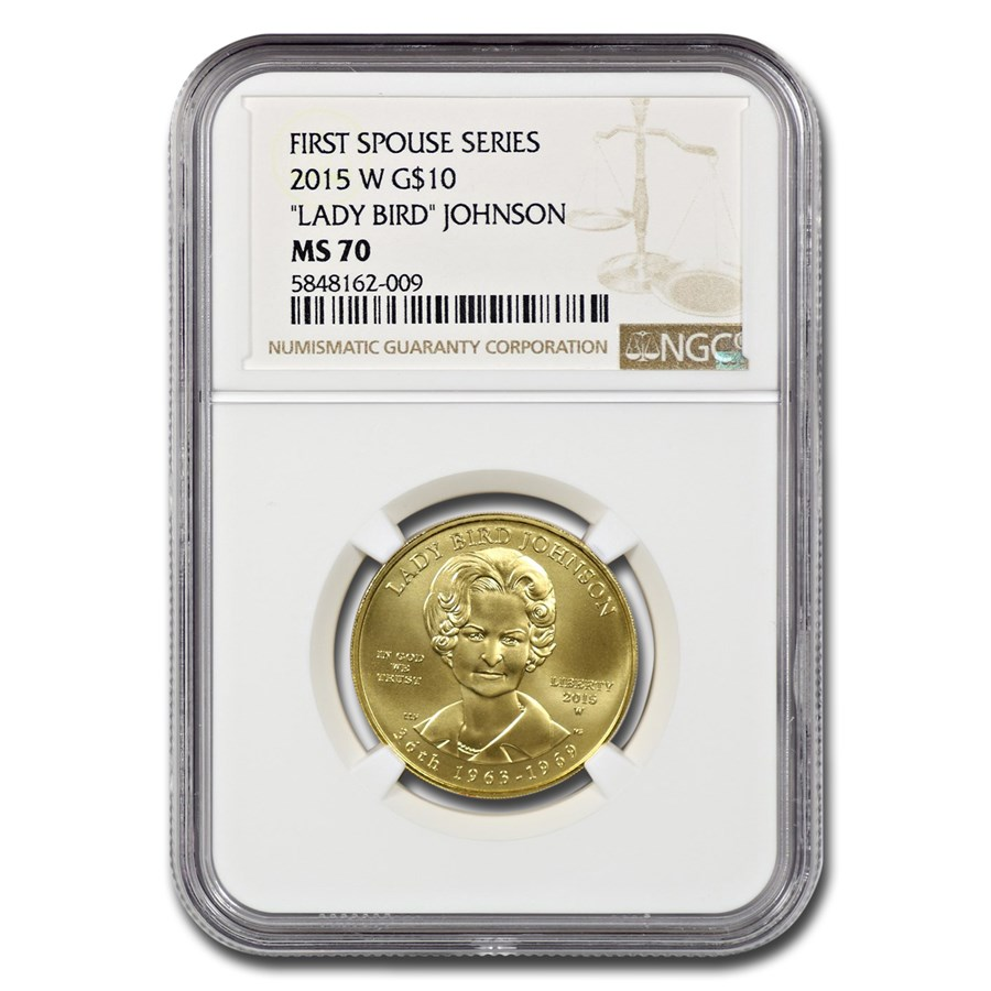 "2015-W 1/2 oz Gold ""Lady Bird"" Johnson MS-70 NGC"
