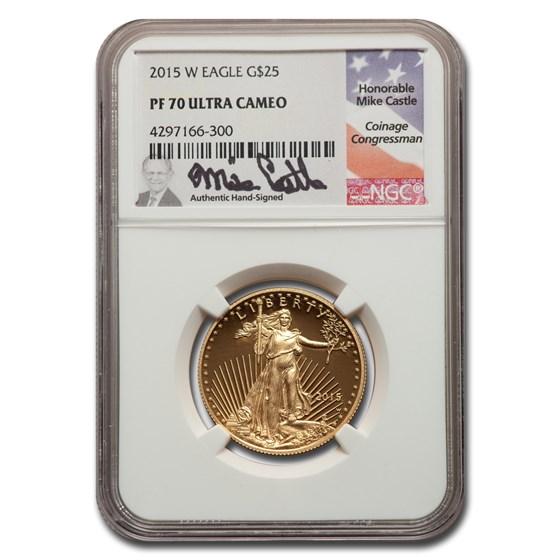 2015-W 1/2 oz Proof American Gold Eagle PF-70 NGC (Castle)