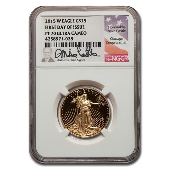 2015-W 1/2 oz Proof American Gold Eagle PF-70 NGC (FDI Castle)