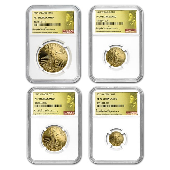 2015-W 4-Coin Proof American Gold Eagle Set PF-70 NGC