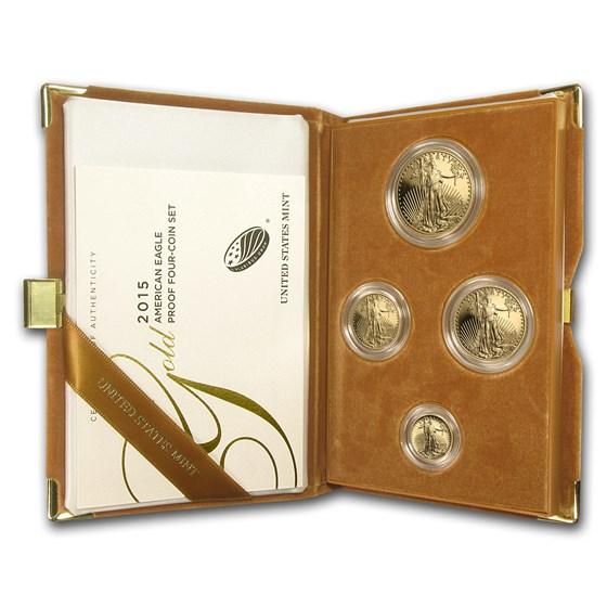 2015-W 4-Coin Proof American Gold Eagle Set (w/Box & COA)