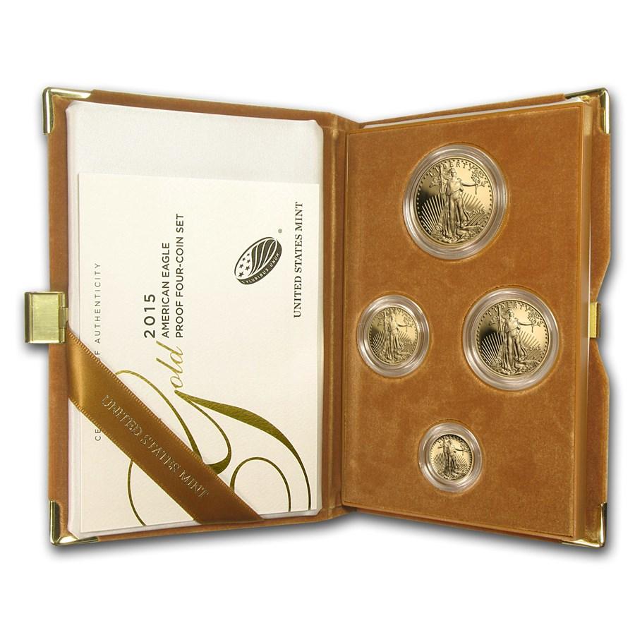 2015-W 4-Coin Proof Gold American Eagle Set (w/Box & COA)