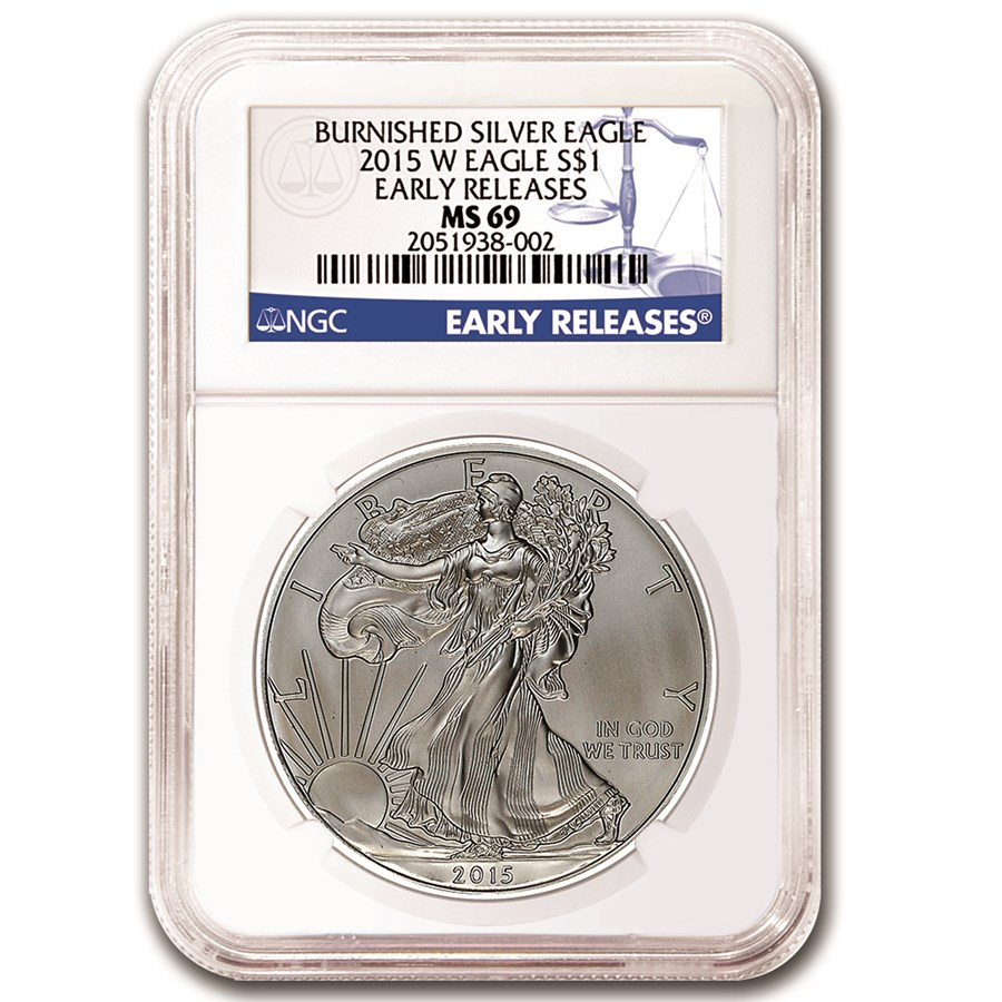 2015-W Burnished Silver Eagle MS-69 NGC (Early Releases)