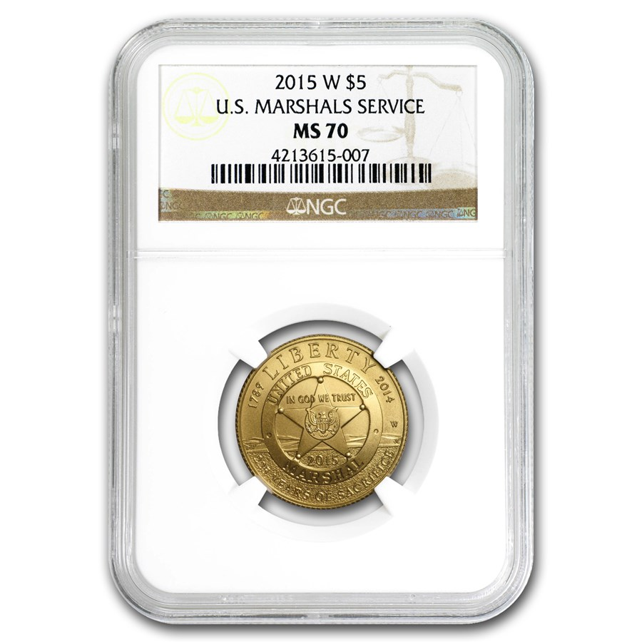 2015-W Gold $5 Commem U.S. Marshals Service MS-70 NGC