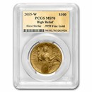 2015-W High Relief Liberty Gold MS-70 PCGS (FS, Gold Foil Label)