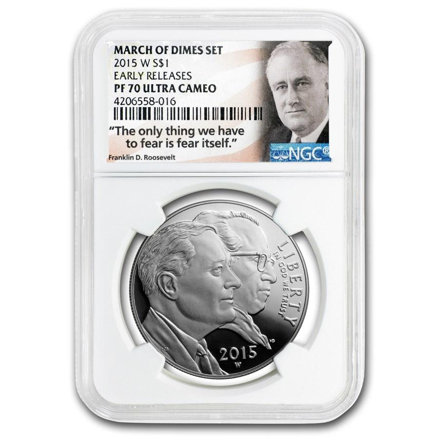 2015-W U.S. March of Dimes $1 Silver Commem PF-70 NGC