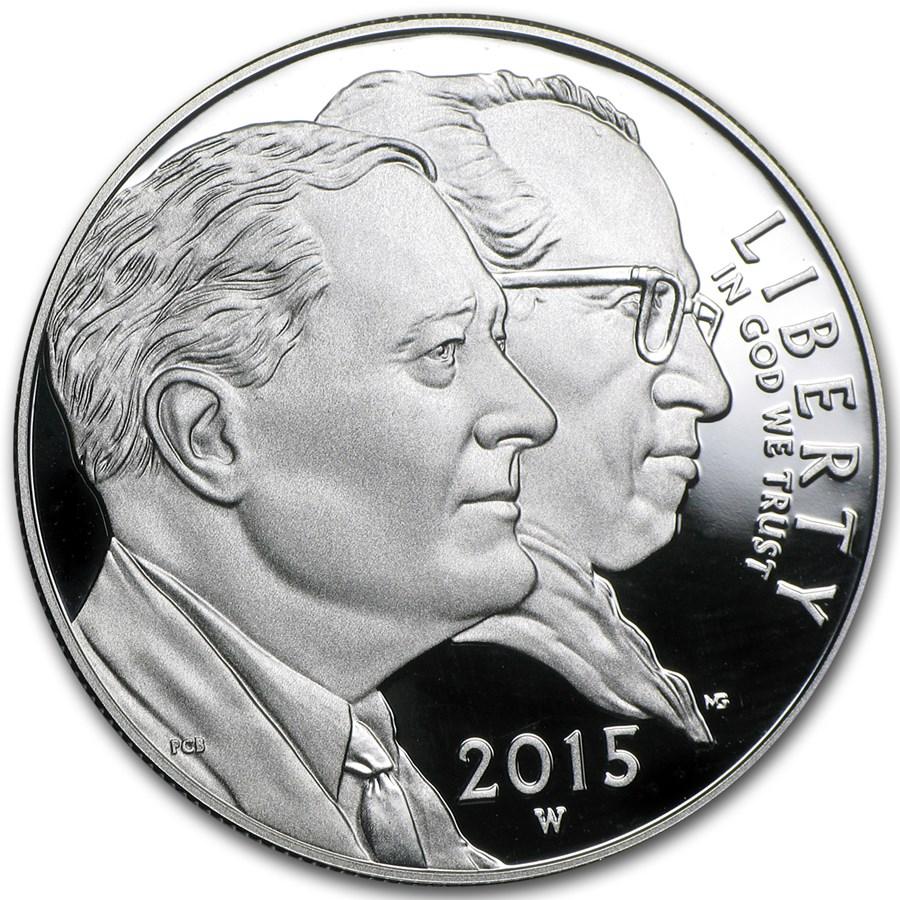 2015-W U.S. March of Dimes $1 Silver Commem Proof (w/Box & COA)
