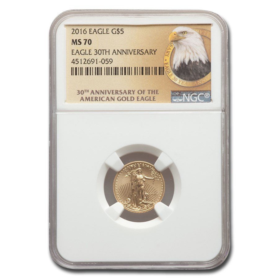 2016 1/10 oz Gold American Eagle MS-70 NGC (30th Anniversary)