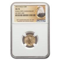 2016 1/10 oz Gold Eagle MS-70 NGC (30th Anniversary, Eagle Label)