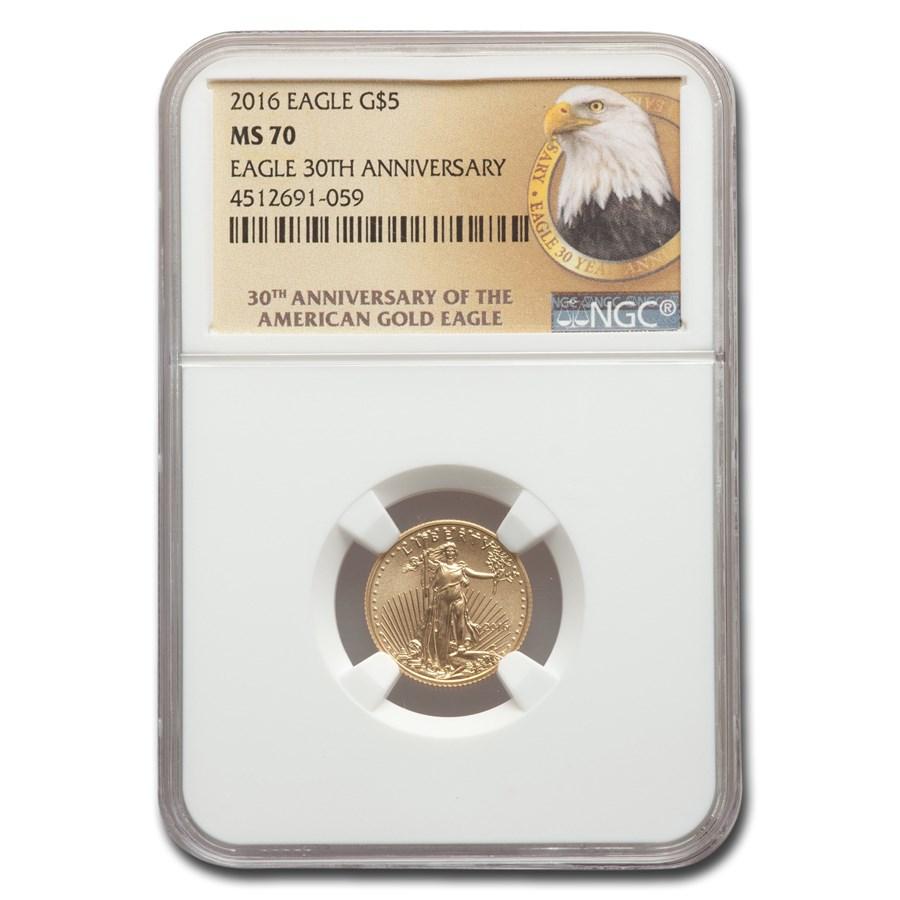2016 1/10 oz Gold Eagle MS-70 NGC (30th Anniversary - Eagle)