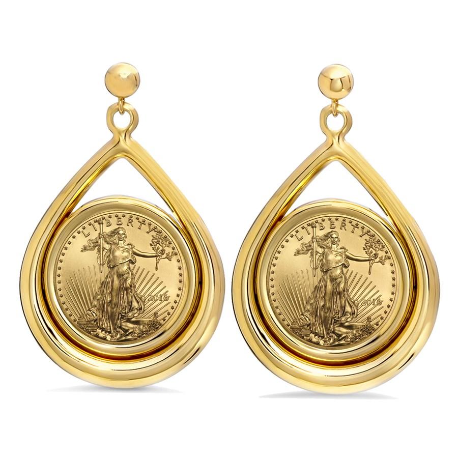 2016 1/10 oz Gold Eagle Tear Drop Dangle Coin Earrings