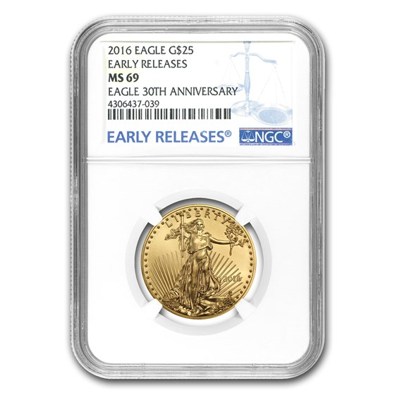 2016 1/2 oz American Gold Eagle MS-69 NGC (Early Releases)