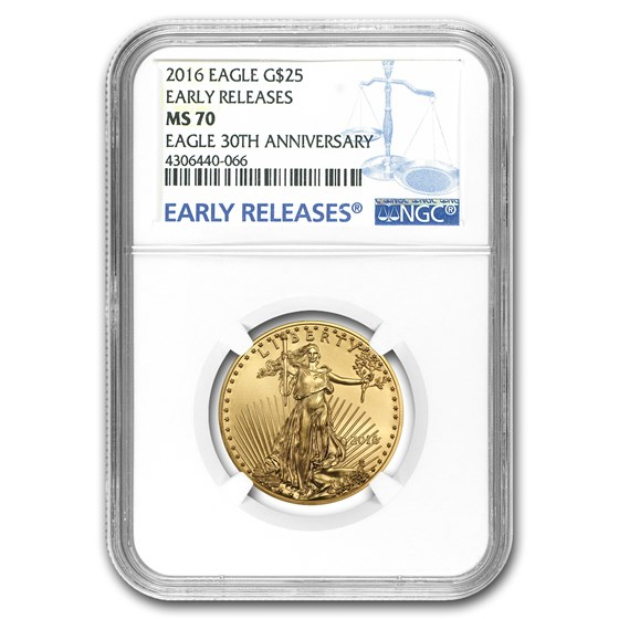 2016 1/2 oz American Gold Eagle MS-70 NGC (Early Releases)