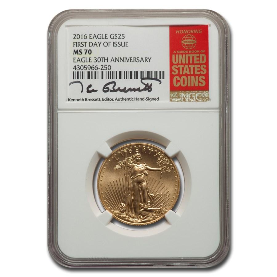 2016 1/2 oz American Gold Eagle MS-70 NGC (FDI, Bressett)