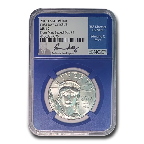 2016 1 oz American Platinum Eagle MS-69 NGC (FDI Box#1 Moy)