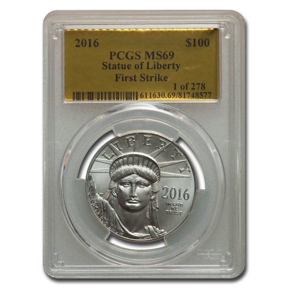 2016 1 oz American Platinum Eagle MS-69 PCGS (FS Gold Foil Label)