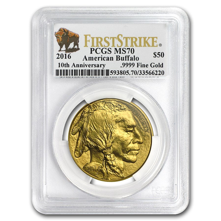 2016 1 oz Gold Buffalo MS-70 PCGS (FirstStrike®, Buffalo Label)