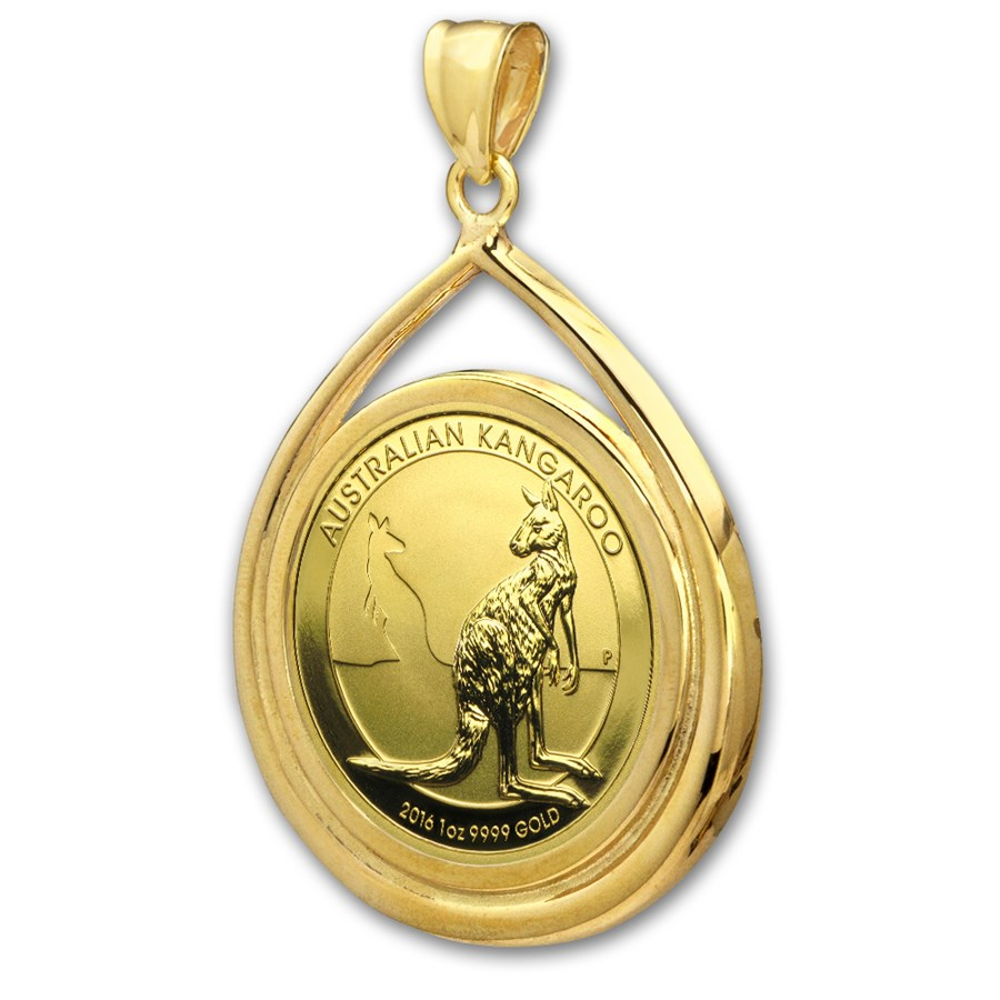2016 1 oz Gold Kangaroo Teardrop Pendant (Prong Bezel)