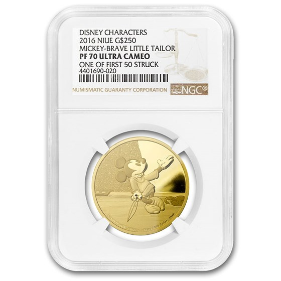2016 1 oz Gold Mickey: Brave Little Tailor NGC PF-70 Ultra Cameo