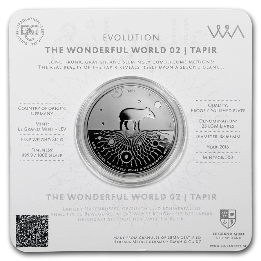 2016 1 oz Silver Proof Evolution I Wonderful World (Tapir)