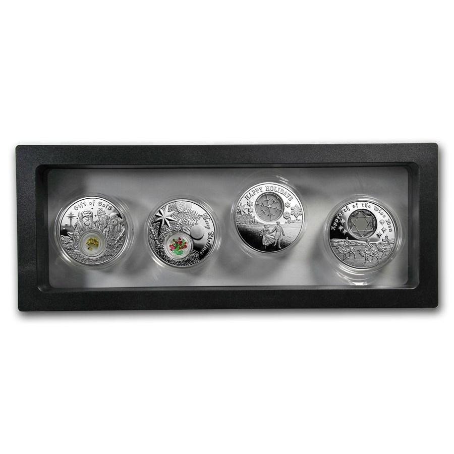 2016 & 2017 Niue 4-coin Silver Christmas Set w/Display Case
