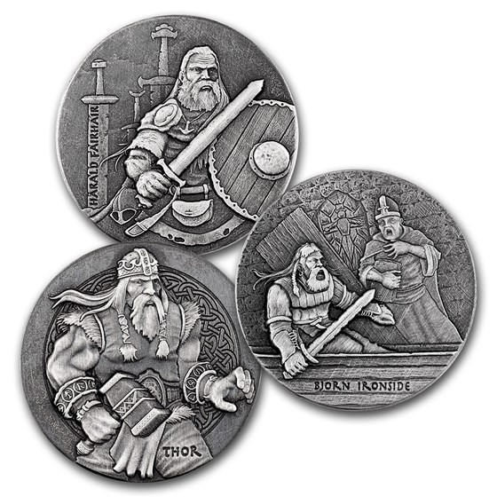 2016 3-Coin 6 oz Silver Set Viking Series