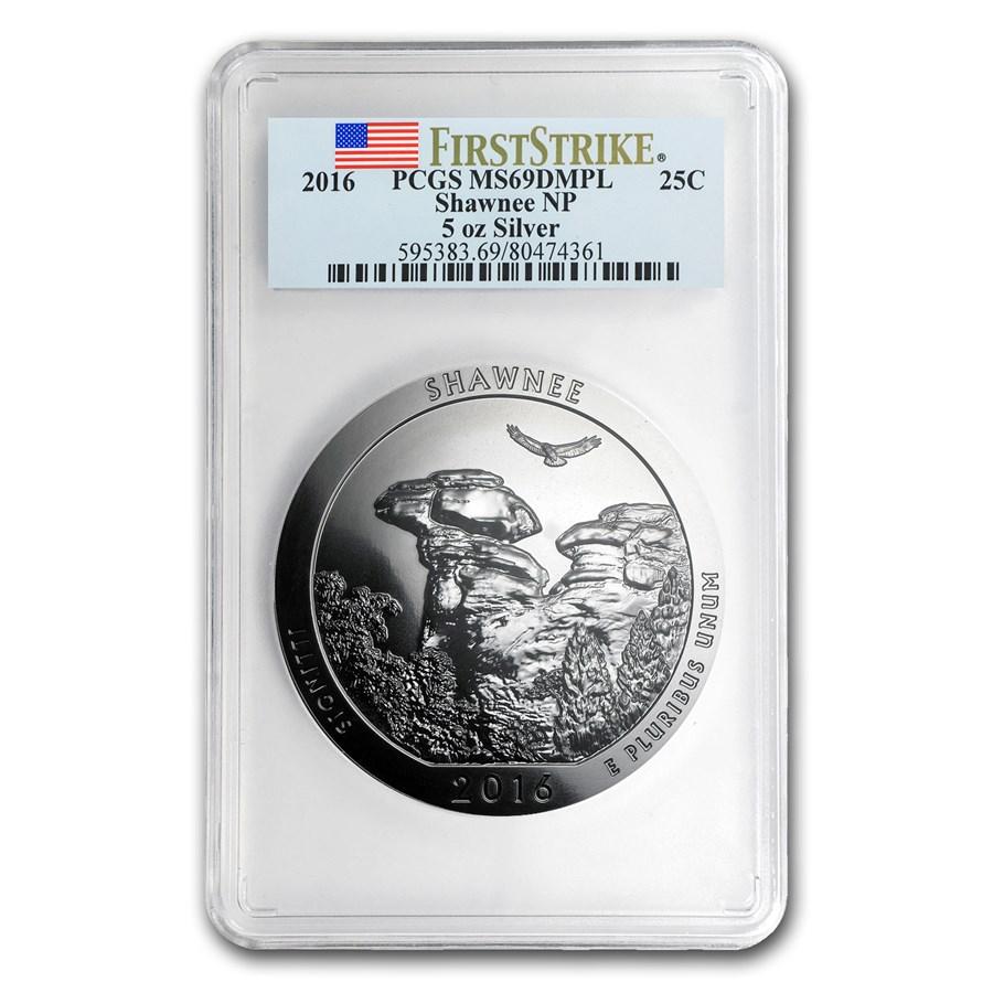 2016 5 oz Silver ATB Shawnee MS-69 DMPL PCGS (FirstStrike®)
