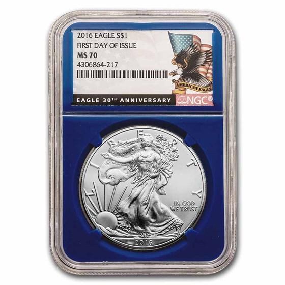 2016 American Silver Eagle MS-70 NGC (Random Label/Core, FDI)