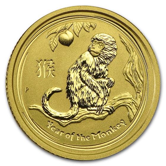2016 Australia 1/10 oz Gold Lunar Monkey BU