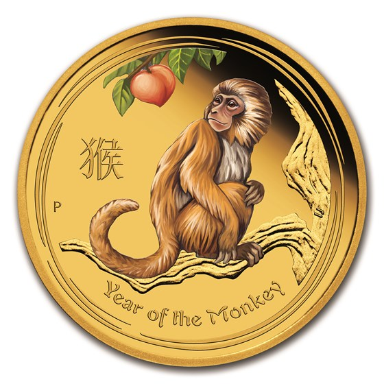 2016 Australia 1/10 oz Gold Lunar Monkey Proof (Colorized)