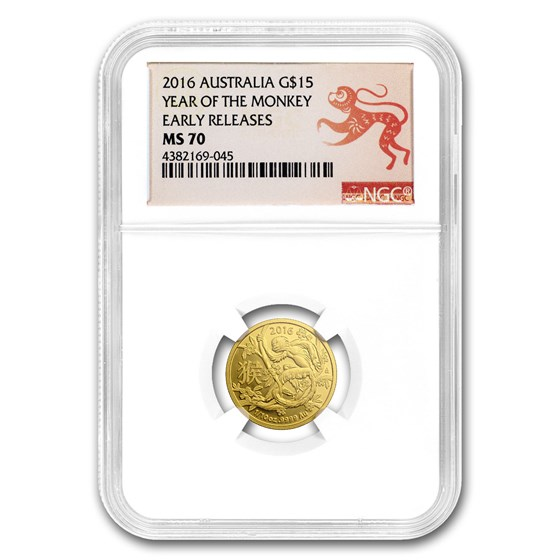2016 Australia 1/10 oz Gold Lunar Year of Monkey MS-70 NGC (ER)