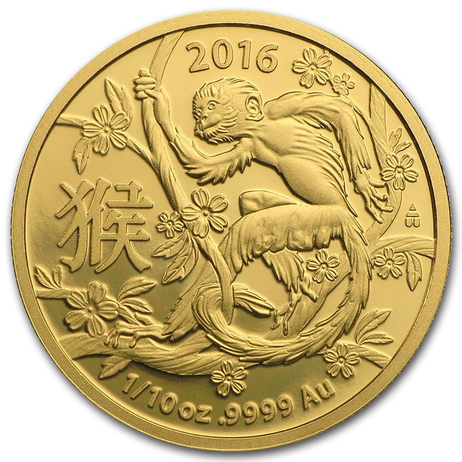 2016 Australia 1/10 oz Gold Lunar Year of the Monkey BU (RAM)