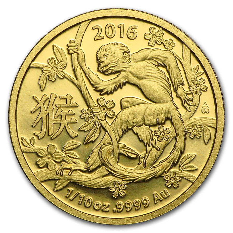 2016 Australia 1/10 oz Gold Year of the Monkey (Light Abrasions)