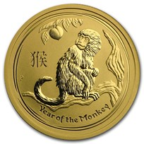 2016 Australia 1/2 oz Gold Lunar Monkey BU