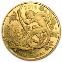 2016 Australia 1/2 oz Gold Lunar Year of the Monkey BU (RAM)